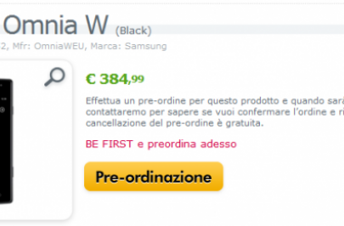 Samsung Omnia W Available For Preorder In Italy [ Windows Phone 7 ]