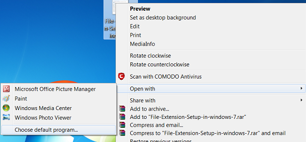 File Extension Setup in windows 7