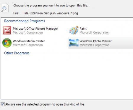 Windows - Choose Default Program