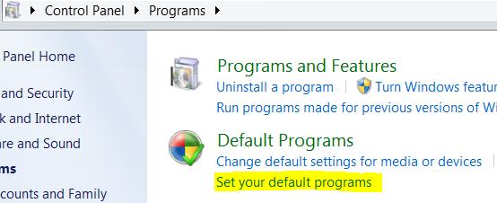 Set Default Program In Windows