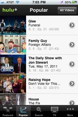 Hulu+ App For iOS Devices