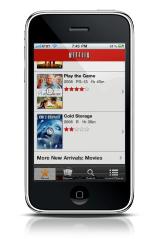 NetFlix App on iPhone