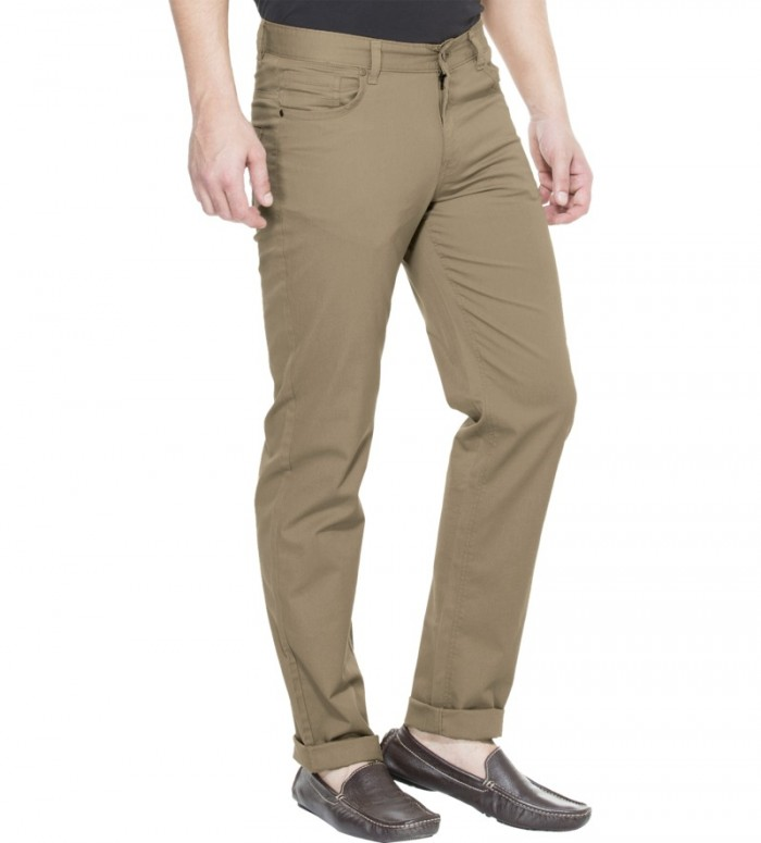 Zovi-Slim-Fit-Khaki-Brown-Solid-Trouser