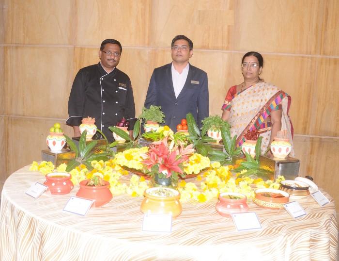 L-R Muthu Kumar (Executive Chef),  Mr. Shyam Sunder (F&B Director) & Jyothi Valaboju at Telangana Food Fest