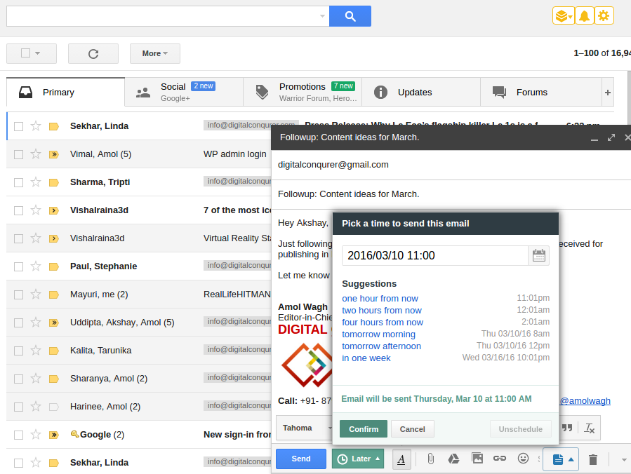 Hiver - Schedule Emails on Gmail