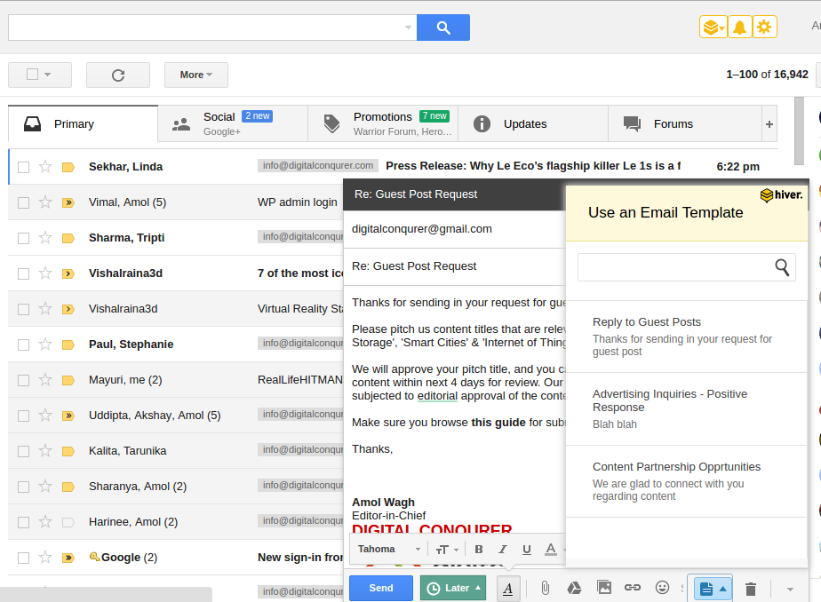 Hiver - Email Templates for Gmail
