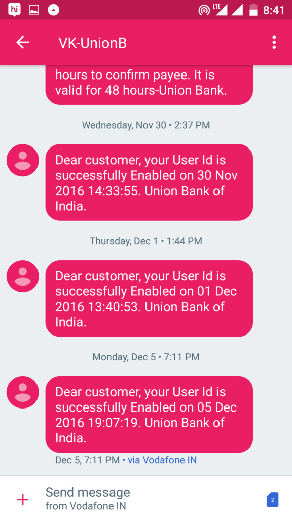 Union Bank of India forgot user id