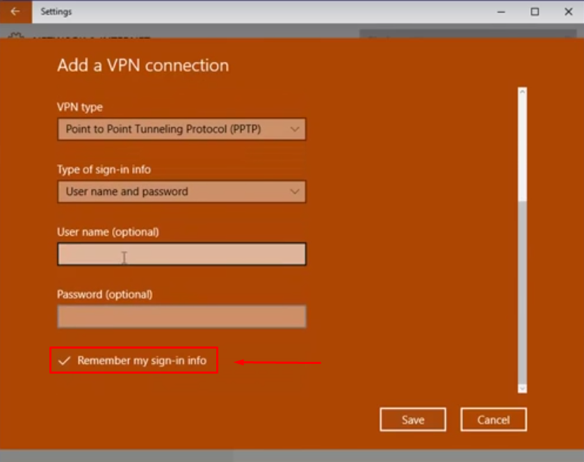 Edit VPN Connection in Windows 10