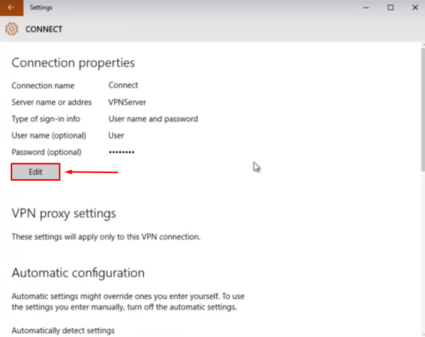 VPN Connection in Windows 10