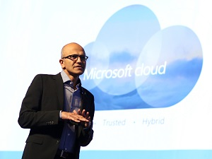 The Microsoft cloud speaks to real world needs. Satya Nadella CEO Microsoft delivers the keynote address at Future Decoded