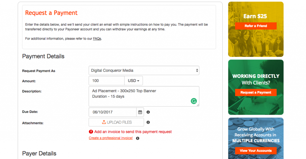 payoneer request payment international clients