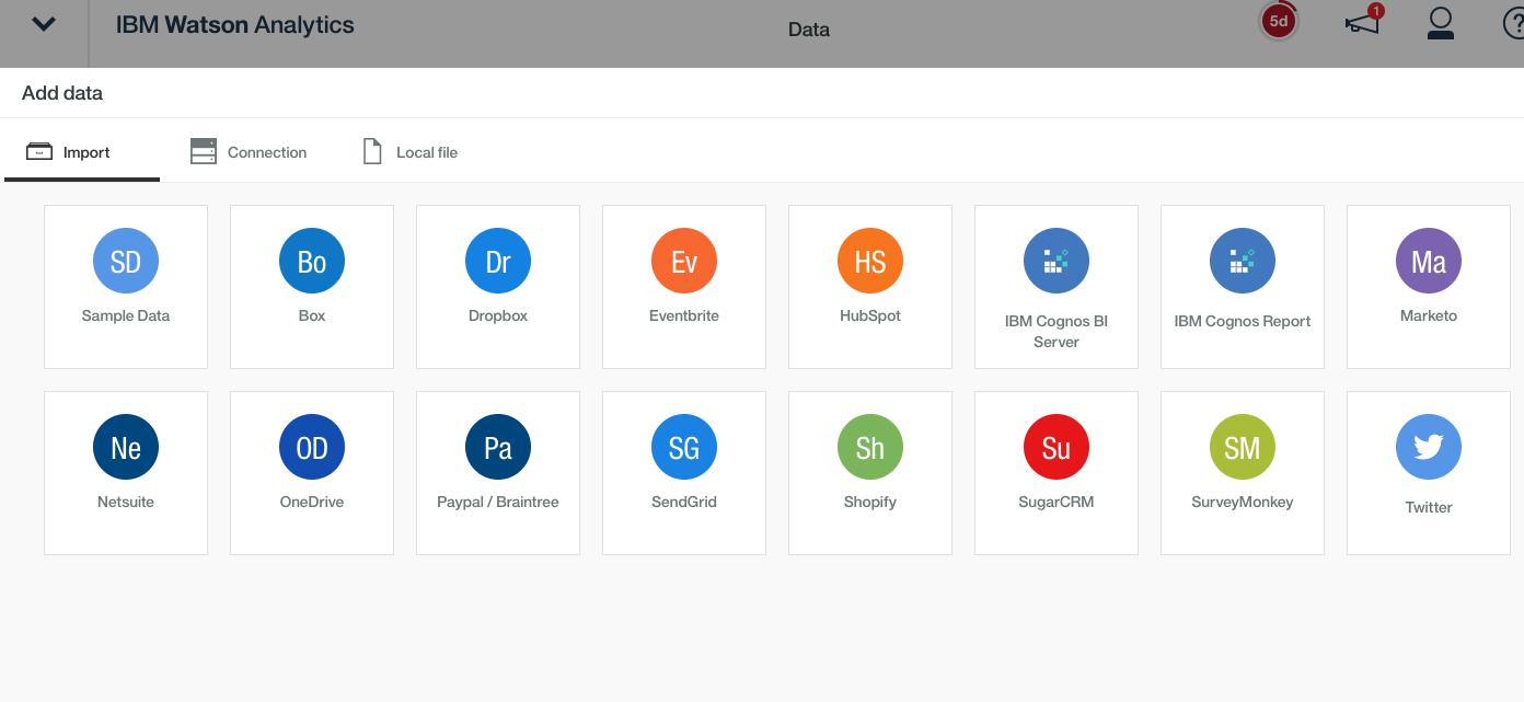 Load Data - Watson Analytics Import Options