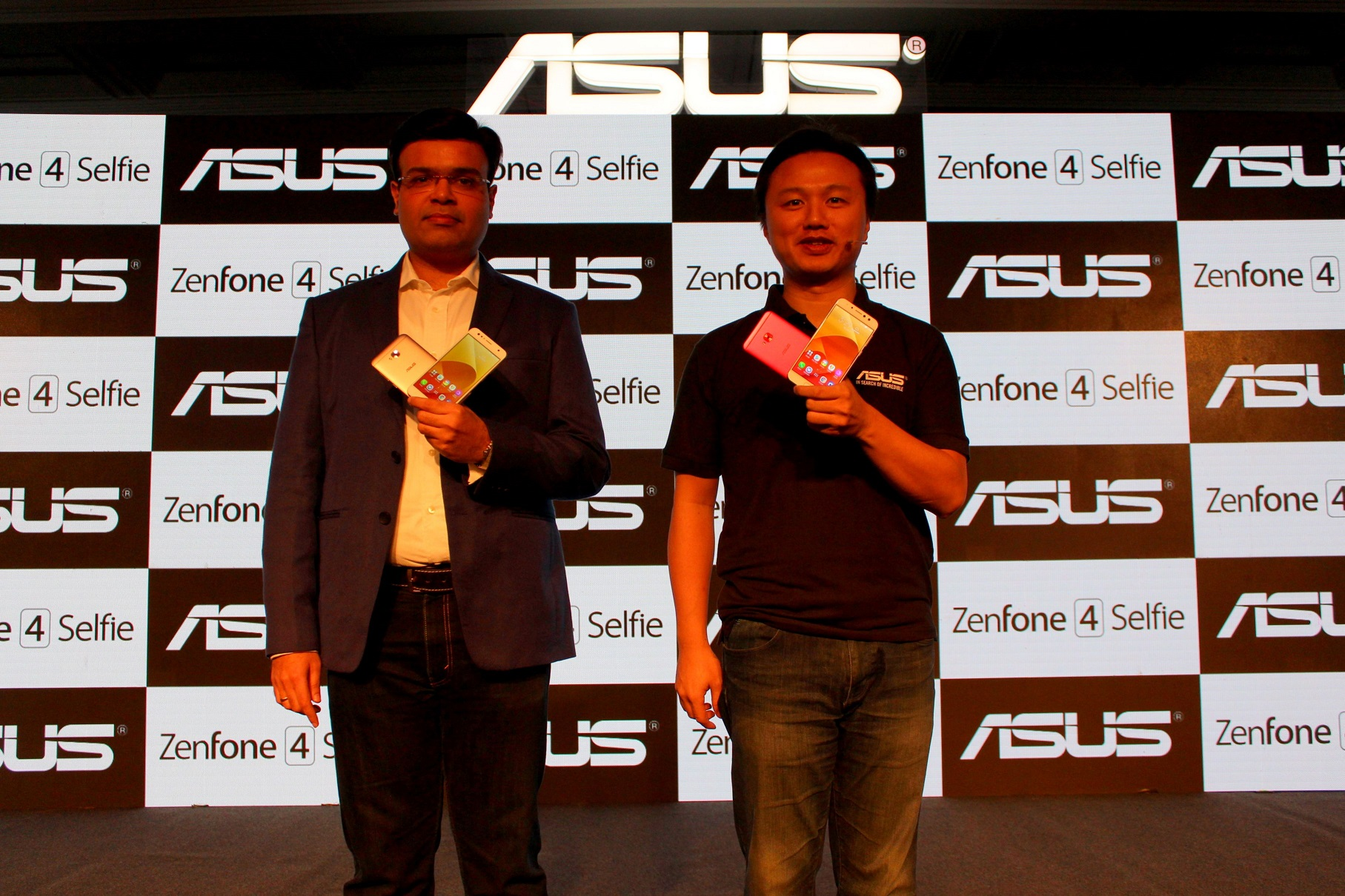 Mr. Dinesh Sharma and Mr. Peter Chang L R unveiling the Zenfone 4 Selfie Series