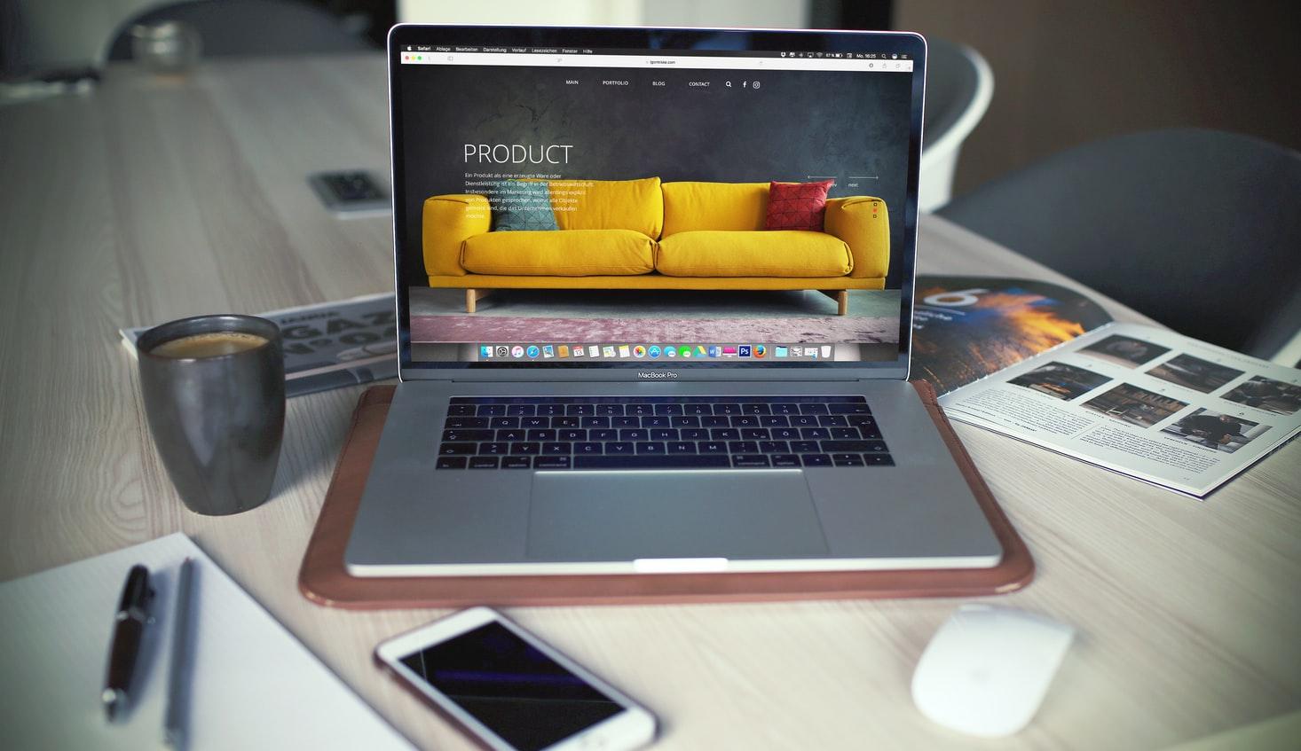 macbook yellow sofa