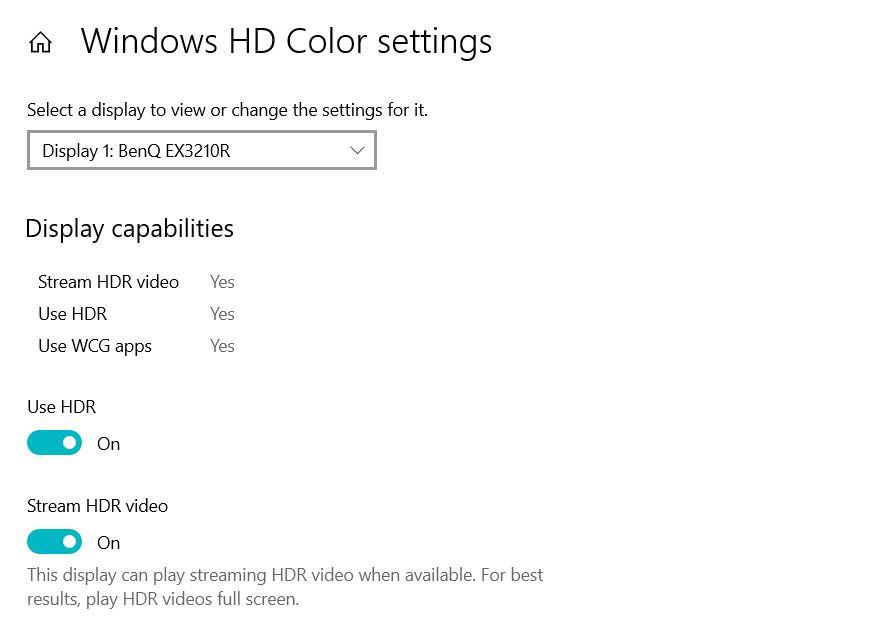 Windows HDR Settings BenQ EX3210R