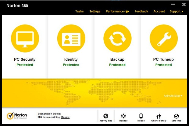 Norton 360 Version 6.0 Main Interface