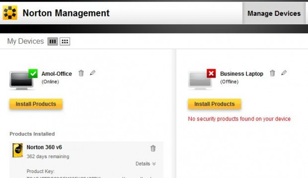 Norton 360 V 6.0 Management UI