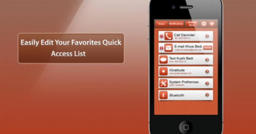 Favorites iPhone App Review – Quick Launch List of Your Favorite Tasks