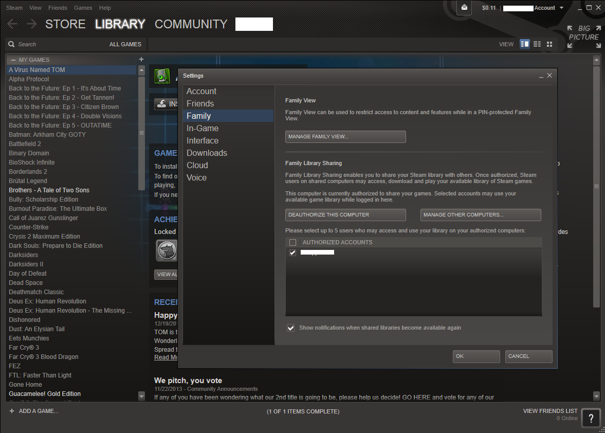 how to use steam family library sharing